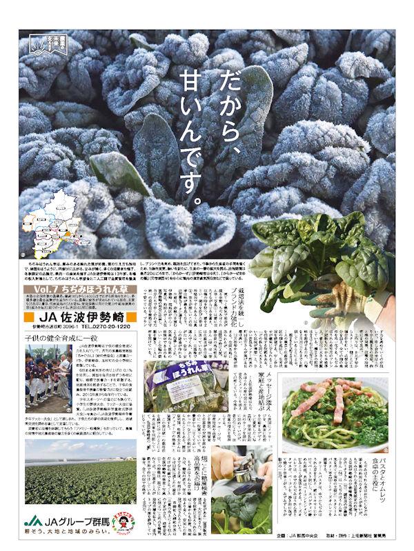 農業の未来支えます Vol.7 ちぢみほうれん草 JA佐波伊勢崎